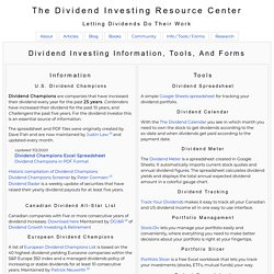 The Dividend Investing Resource Center - Information, Tools, And Forms