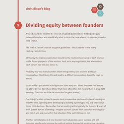 Dividing equity between founders