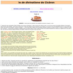 "le ""de divinatione ""de Cicéron : textes, traduction, explications, vocabulaire"