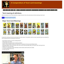 Tarot card meanings & divinatory definitions