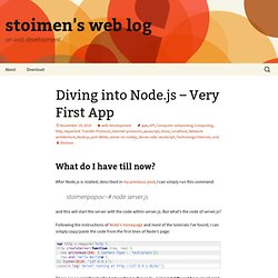 Diving into Node.js – Very First App