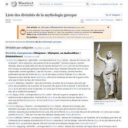 Liste des divinités de la mythologie grecque