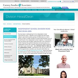 Division Head and Dean Jobs