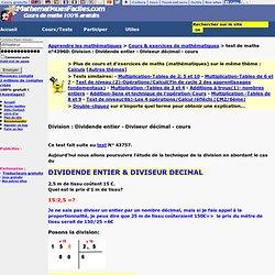 Division : Dividende entier - Diviseur décimal