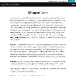 Divorce Laws – Hamza and Hamza Law Associates