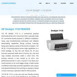 HP Deskjet 1110 Setup & Install - 123.Hp.Com