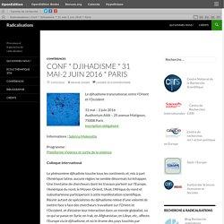 Conf * Djihadisme * 31 mai-2 juin 2016 * Paris