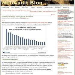 Dlaczego startupy upadają? 20 powodów. : WebAudit Blog