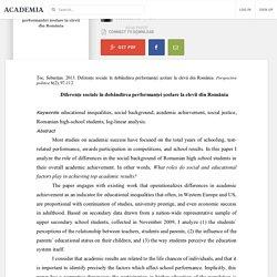 Diferențe sociale în dobândirea performanței școlare la elevii din România
