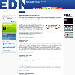 EDN: DOCalendar Deadlines in November 2015
