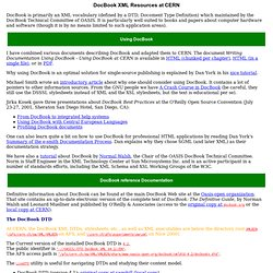 DocBook XML Resources at CERN