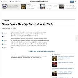 Doctor in New York City Tests Positive for Ebola