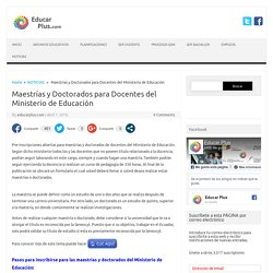 Maestrías y Doctorados para Docentes del Ministerio de Educación