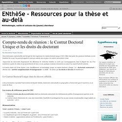 Le Contrat Doctoral Unique et les droits du doctorant