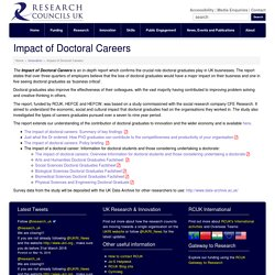 Impact of Doctoral Careers - Research Councils UK