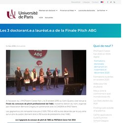 Les 3 doctorant.e.s lauréat.e.s de la Finale Pitch ABG - Le Doctorat à l'Université de Paris