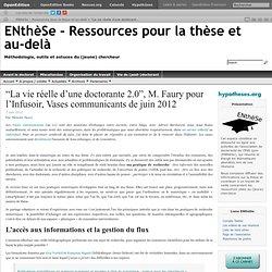 """""""La vie réelle d'une doctorante 2.0"""", M. Faury pour l'Infusoir, Vases communicants de juin 2012"""