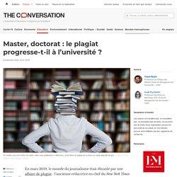 Master, doctorat: leplagiat progresse-t-il àl'université?