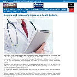 Doctors seek meaningful increase in health budgets