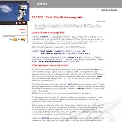 DOCTYPE : Carte d'identité d'une page Web