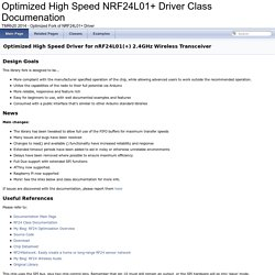 Optimized High Speed NRF24L01+ Driver Class Documenation: Optimized High Speed Driver for nRF24L01(+) 2.4GHz Wireless Transceiver