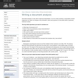 Writing a document analysis - Academic Skills & Learning Centre - ANU