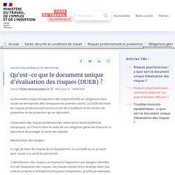 Qu'est-ce que le document unique d'évaluation des risques(DUER) ?