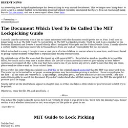 The Document Which Was Formerly Called The MIT Guide to Lockpicking