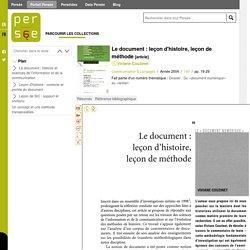 Le document : leçon d'histoire, leçon de méthode