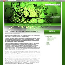 ESD : Qu'est-ce qu'un document historique ? - Textus Historiae