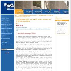 Document : Pétain -Le projet de loi portant sur le Statut des Juifs