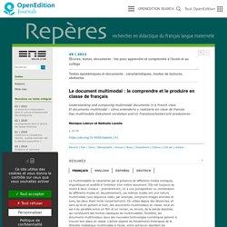 Le document multimodal: le comprendre et le produire en classe de français