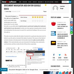 Document Navigator Add-on for Google Docs