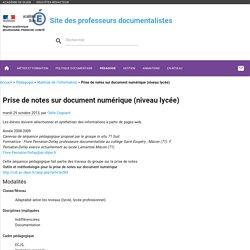 Prise de notes sur document numérique (niveau lycée)