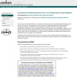 Document - La présence de médicaments dans l'eau: y a-t-il danger pour la santé publique?