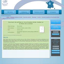 ORS CENTRE - JANV 2009 - Document de synthèse sur les principales études menées sur le thème de la nutrition