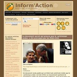 Le document secret qui prouve que le «printemps arabe» a été provoqué par les Etats-Unis