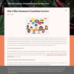 Reason To Utilize Document Translation Services