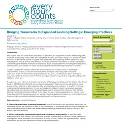 TASC: Every Hour Counts: Document Library: Bringing Transmedia to Expanded Learning Settings: Emerging Practices