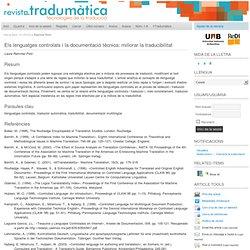 Els lenguatges controlats i la documentació tècnica: millorar la traducibilitat