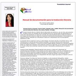 Documentación para la traducción literaria