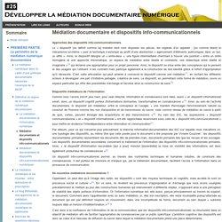 Développer la médiation documentaire numérique : Médiation documentaire et dispositifs info-communicationnels