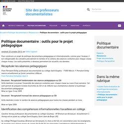 Politique documentaire : outils pour le projet pédagogique