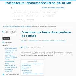 Constituer un fonds documentaire de collège – Professeurs-documentalistes de la Mlf