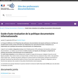 Guide d'auto-évaluation de la politique documentaire informationnelle