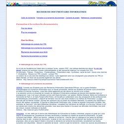 Recherche documentaire informatisée dans le cadre des TPE : formation à la recherche documentaire