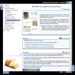 Passeport documentaire : initiation (L1 DSP) - Identifier les types de documents
