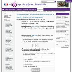 Journée d'étude sous le thème de La Veille Documentaire : mise en ligne des présentations — Prof-Doc
