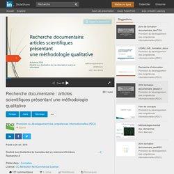 Recherche documentaire : articles scientifiques présentant une méthod…
