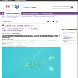 """Tâche complexe documentaire en seconde - """"Des vortex toroïdaux en plongée"""" - Physique chimie Dijon"""